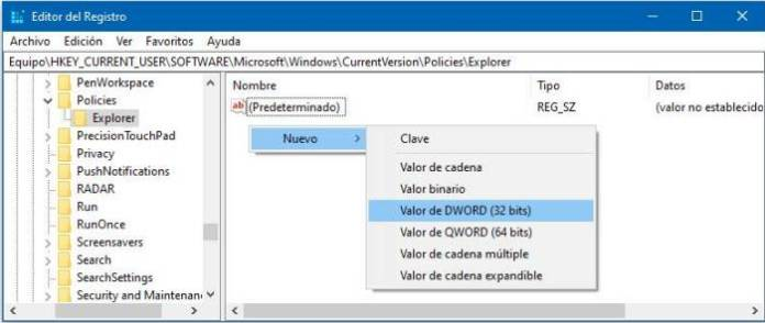 Cómo activar o desactivar el menú contextual en Windows 10