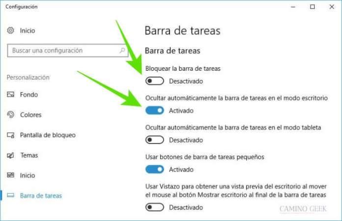 Cómo ocultar la barra de tareas automáticamente en Windows 10