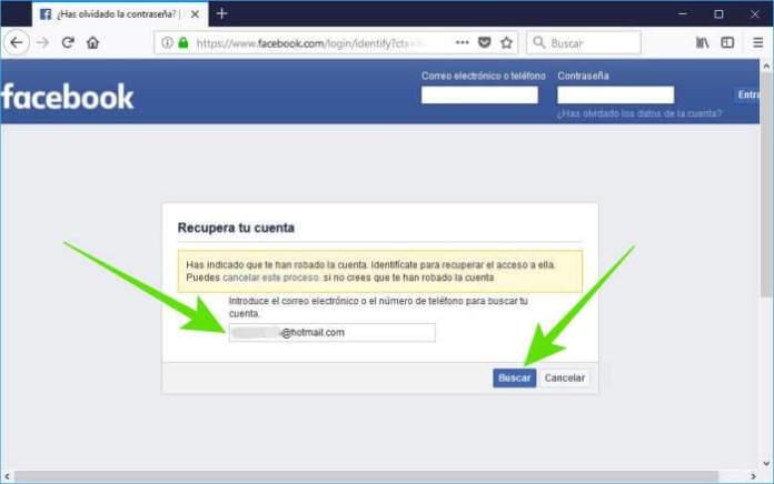 Reportar una cuenta comprometida de Facebook