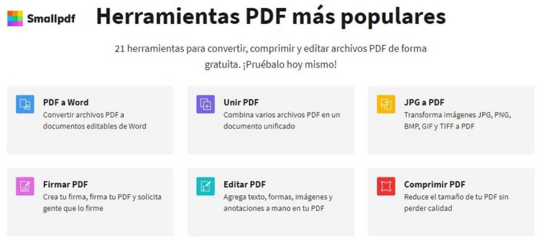 SmallPDF para convertir, comprimir, desbloquear, firmar documentos PDF