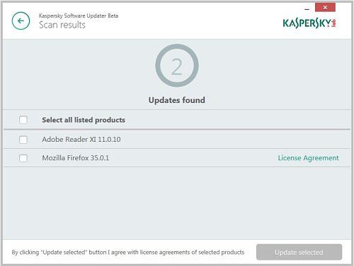 Kaspersky Software Updater para actualizar aplicaciones