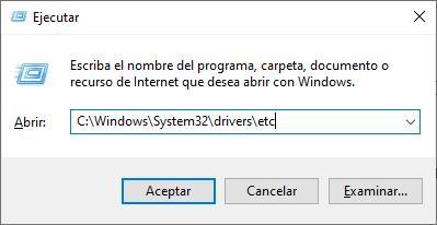 Abrir el archivo hosts de Windows desde la ventana Ejecutar