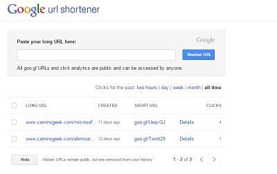 El servicio de Google para acortar URL