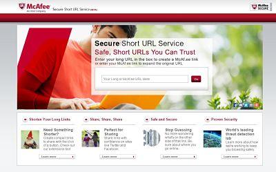 Recortador de url de McAfee para crear enlaces cortos seguros
