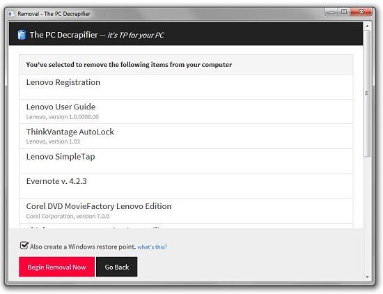 Desinstalar aplicaciones superfluas con PC Decrapifier