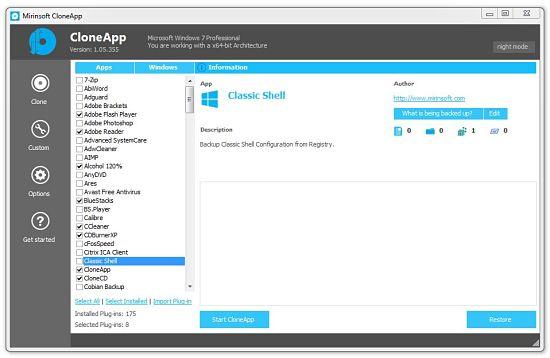 CloneApp - hacer backup de configuraciones de programas en Windows