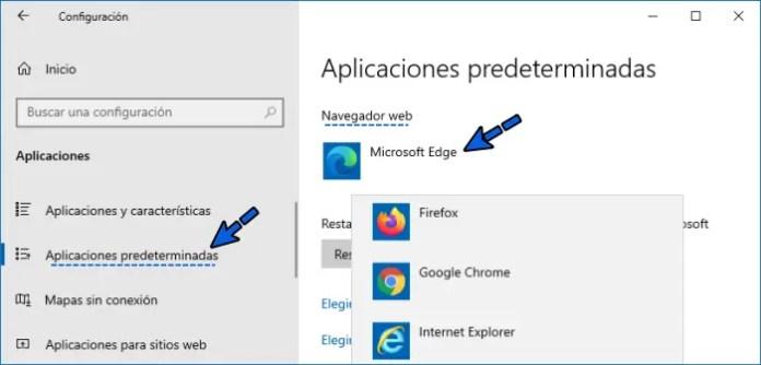 Cambiar navegador predeterminado en Windows 10