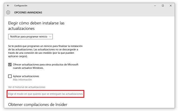 deshabilitar las actualizaciones P2P en Windows 10