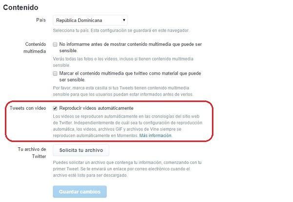 Desactivar la reproducción automática de Twitter