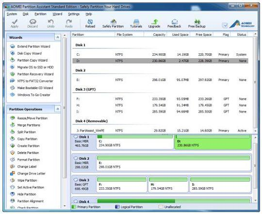 AOMEI Partition Assistant Standard Edition, gestionar particiones