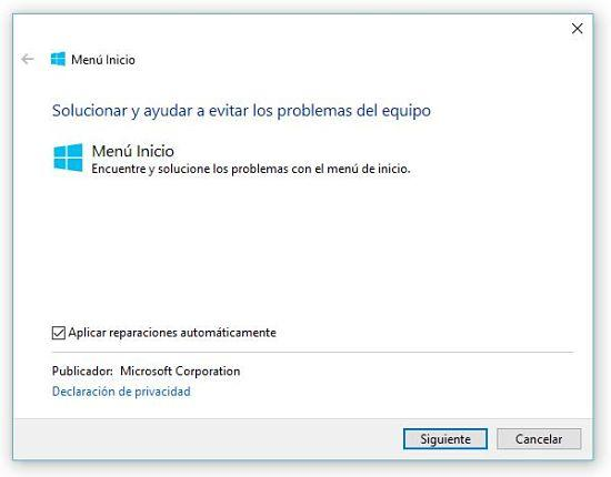 Cómo solucionar problemas del menú inicio en Windows 10