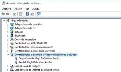 Cómo solucionar problema de audio en Windows 10; actualizar controladores