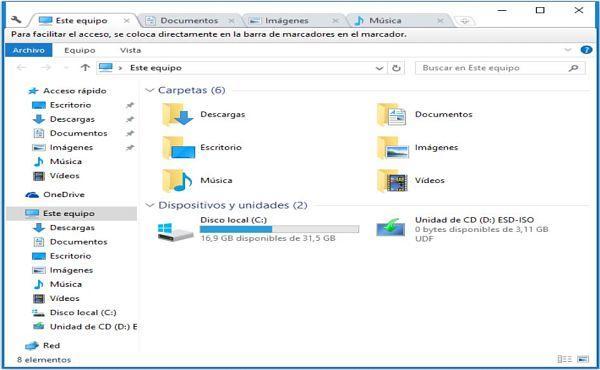 Con Clover puedes usar el Explorador de Windows con pestañas