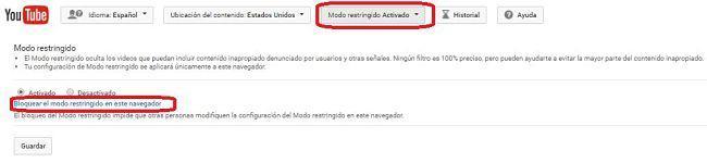 Activar el Modo restringido de YouTube desde el navegador web en la PC
