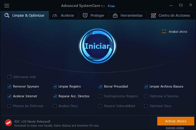 IObit Advanced Systemcare para afinar tu sistema y mejorar el rendimiento de Windows 10