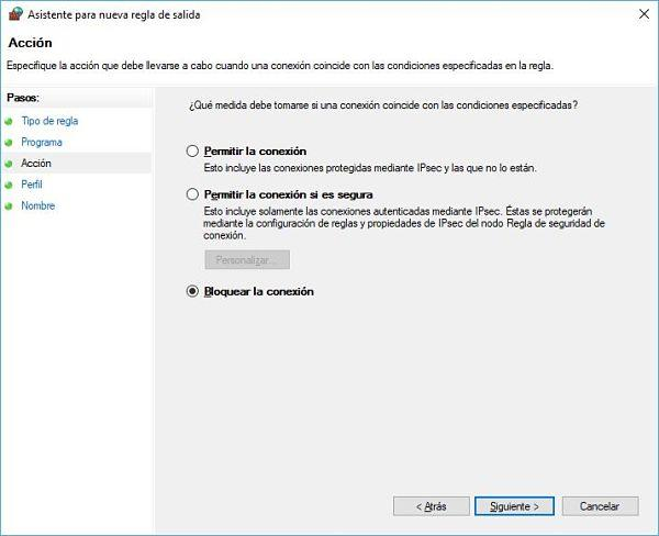 Bloquear acceso a internet de un programa Windows