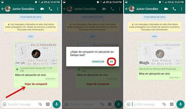 Compartiendo tu ubicación en tiempo real desde WhatsApp