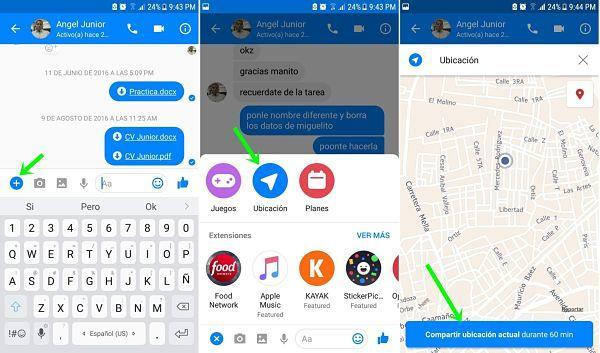 Enviar tu ubicación por Messenger en tiempo real