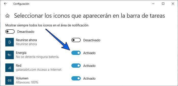 Cómo poner el icono de batería en la barra de tareas en Windows 10