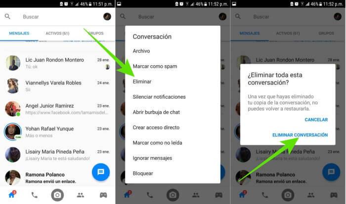 Eliminar conversaciones de Messenger en Android.