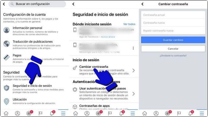 Cómo cambiar contraseña de Facebook en celular iPhone