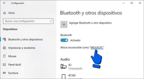 Cómo cambiar el nombre bluetooth en Windows 10