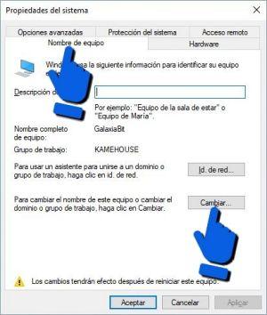 Cambiar el nombre del Bluetooth en propiedades del sistema