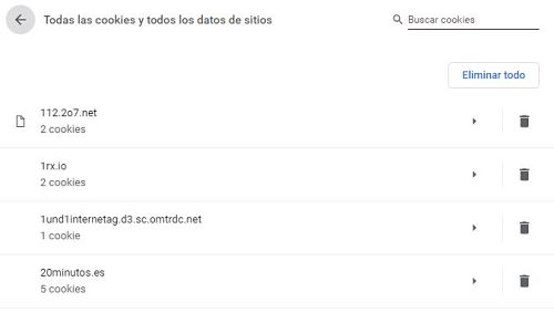 Eliminar cookies en Chrome