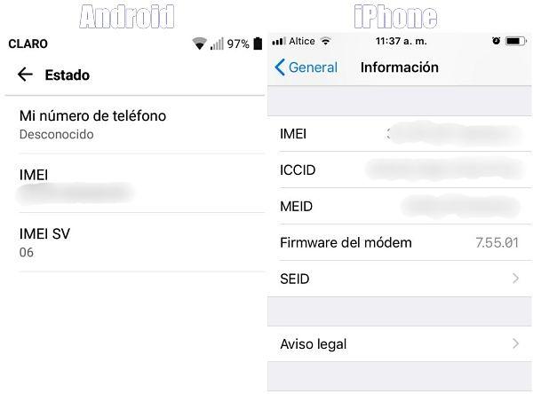 Cómo sacar el IMEI de los ajustes en iPhone y Android.
