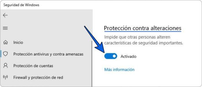Deshabilitando la protección contra alteraciones de Windows Defender