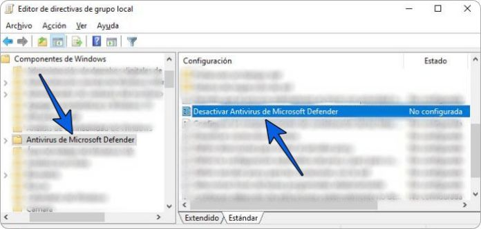 Deshabilitar Windows Defender en Políticas de grupo local