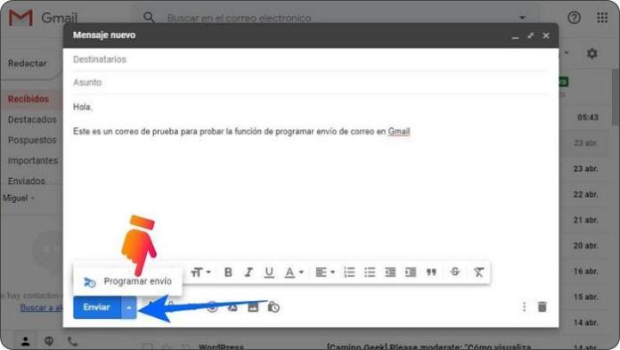 Programar el envío de correos