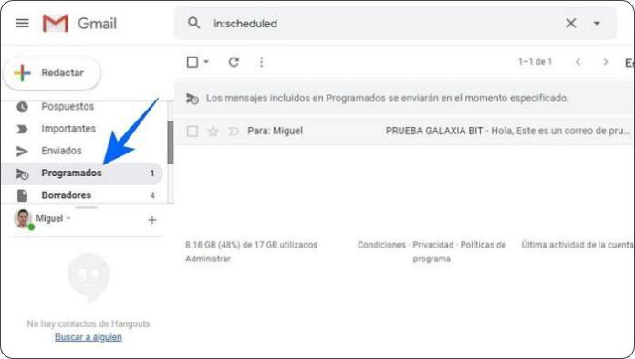 Ver correos programados en Gmail