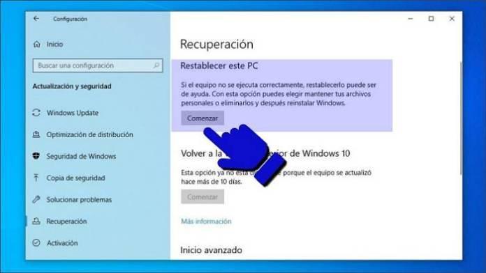 Restablecer este PC Windows 10