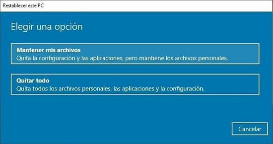 Elegir opción restaurar Windows 10 de fábrica