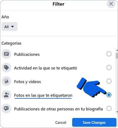 Eliminar fotos etiquetadas Facebook.