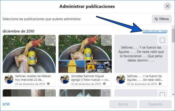 Cómo seleccionar y borrar todas las publicaciones de Facebook