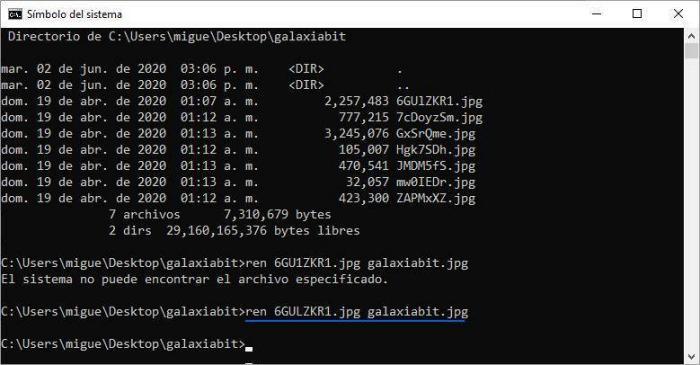 Cambiar el nombre de un archivo con CMD (Símbolo del sistema).