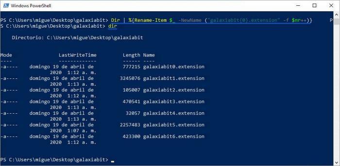 Cómo renombrar archivos masivamente con PowerShell.