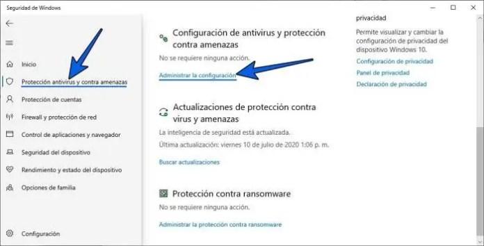 Cómo activar Microsoft Defender en Windows 10.