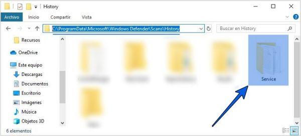 Borrar el historial de Windows Defender manualmente desde la carpeta.