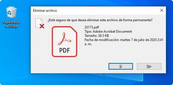 Borrar archivos definitivamente en Windows 10.