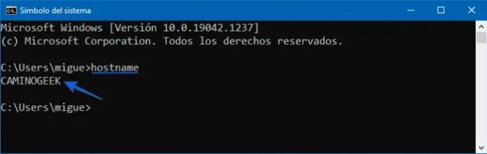 Cómo saber el nombre de mi PC por CMD, Símbolo del sistema o PowerShell.