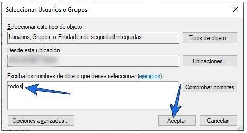 Dar permiso de acceso a todos los usuarios para solucionar el error.