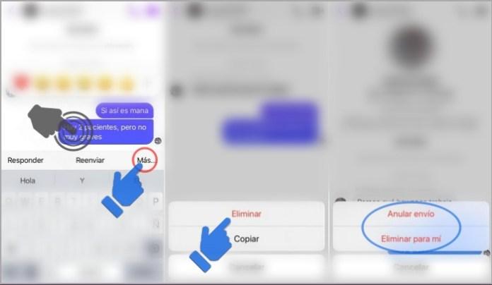 Borrar mensajes de Messenger en iPhone