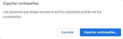 Exportar contraseñas de Chrome