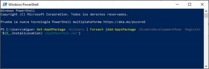 Usar Windows PowerShell si no funciona la tecla Windows