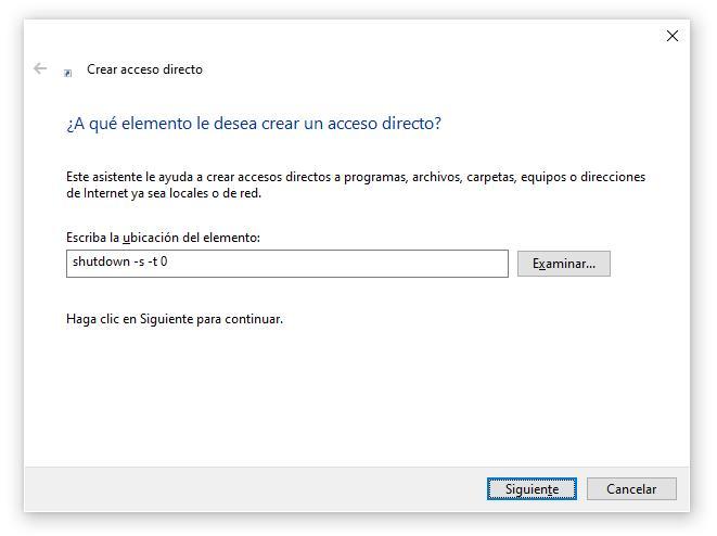 Insertar comando shutdown para apagar PC Windows