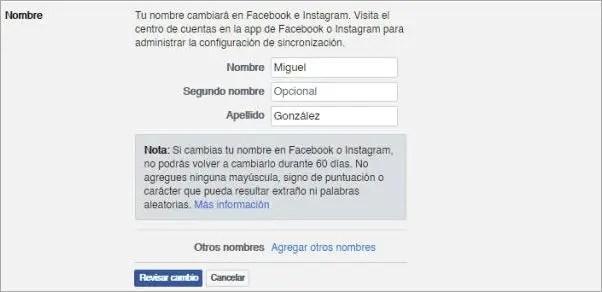 Cambiar mi nombre de Facebook