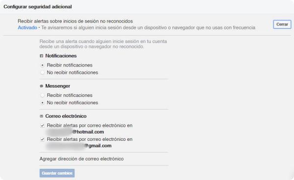 Cómo evitar que hackeen tu Facebook activando alertas de inicio de sesión.